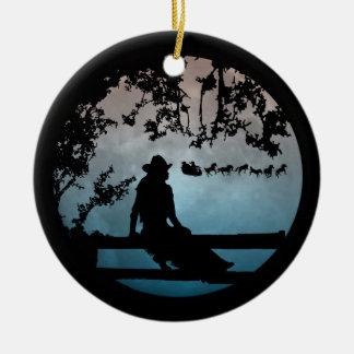 Land-Western-Pferdesleigh-Weihnachtsverzierung Keramik Ornament