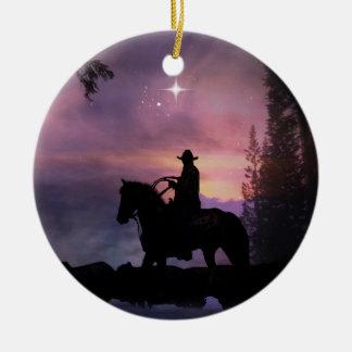 Land-Western-rustikale Cowboy-Weihnachtsverzierung Keramik Ornament