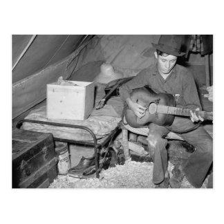 Landarbeiter, der Guitar, 1939 spielt Postkarte