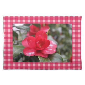 Landart-Rosa-Plaids mit rosa Azalee blühen Tischset