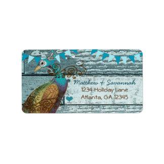 Landchic-Aqua, das Vintagen Pfau mit dem Kopfe Adressaufkleber