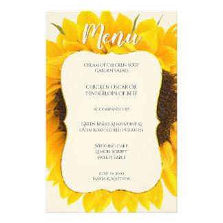 Landchic-Sonnenblume-Hochzeits-Empfangs-Menü Briefpapier