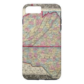 Landkreis-Karte von Virginia und von Nord-Carolina iPhone 8 Plus/7 Plus Hülle