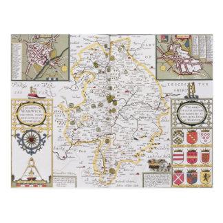 Landkreis von Warwick, Grafschafts-Stadt und Postkarte