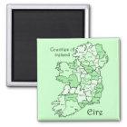 Landkreise von Irland-Karte Quadratischer Magnet