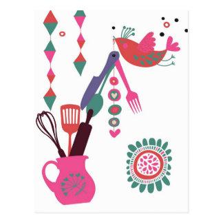 Landküche - Tafelsilber auf Blumen Postkarte