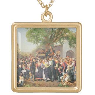 Ländliche Hochzeit in Niederösterreich (Öl auf Lei Halsketten