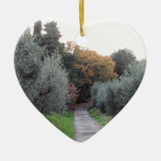 Ländliche Landschaft im Herbst. Toskana, Italien Keramik Ornament