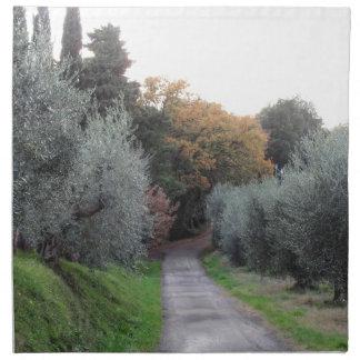 Ländliche Landschaft im Herbst. Toskana, Italien Stoffserviette