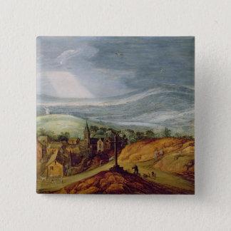 Ländliche Landschaft mit einem Pilger, der vor Quadratischer Button 5,1 Cm