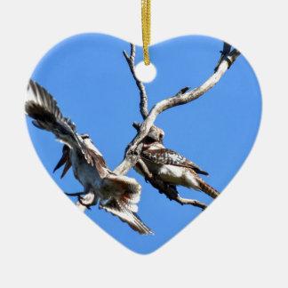 LÄNDLICHES QUEENSLAND AUSTRALIEN KOOKABURRAS KERAMIK Herz-Ornament
