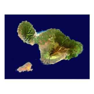 Landsat-Satelliten-Bild von Maui vom Raum Postkarte