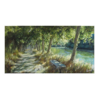 Landscape with zu path close to the river poster