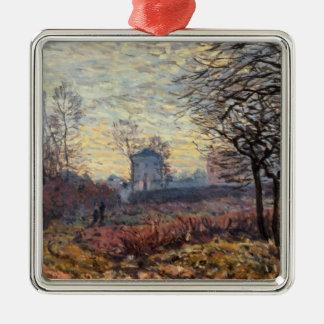 Landschaft Alfred Sisleys | nahe Louveciennes Quadratisches Silberfarbenes Ornament
