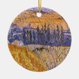 Landschaft bei Auvers im Regen, Vincent van Gogh Keramik Ornament