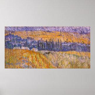 Landschaft bei Auvers im Regen, Vincent van Gogh Poster