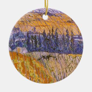 Landschaft bei Auvers im Regen, Vincent van Gogh Rundes Keramik Ornament