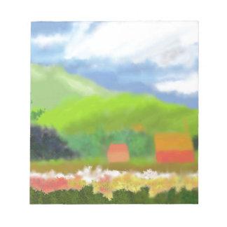 Landschaft bringt Kunst unter Notizblock