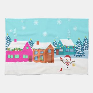 Landschaft des coolen Weihnachtssnowman im Freien Handtuch