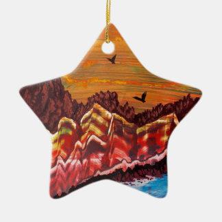 Landschaft des rauchenden Vulkans Keramik Ornament