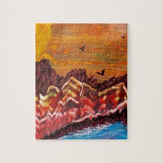 Landschaft des rauchenden Vulkans Puzzle