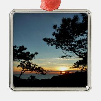 Landschaft des Torrey Kiefern-Sonnenuntergang-III Quadratisches Silberfarbenes Ornament