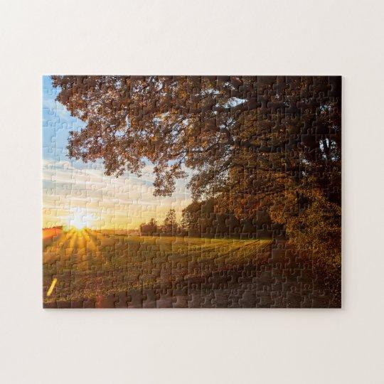 Landschaft Eichenwald mit Sonnenuntergang Herbst Puzzle