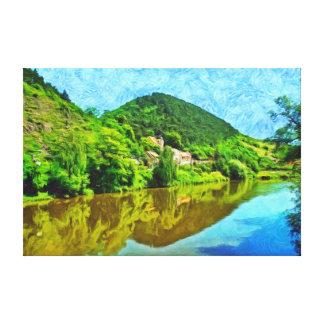 Landschaft in der Nähe von dem Schloss Karlstejn. Leinwanddruck