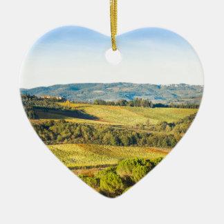 Landschaft in Toskana, Italien Keramik Herz-Ornament