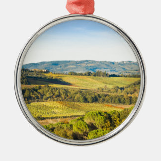 Landschaft in Toskana, Italien Silbernes Ornament