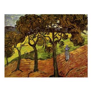 Landschaft mit Bäumen und Zahlen durch Van Gogh Postkarte