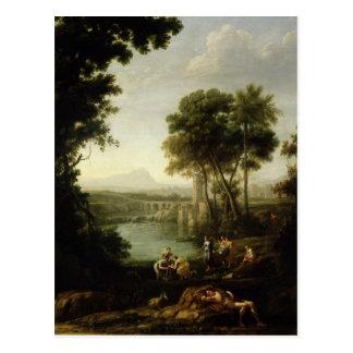 Landschaft mit dem Finden von Mosese Postkarte