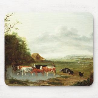 Landschaft mit einem Hirt und Vieh (Öl auf canva Mousepads