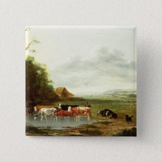 Landschaft mit einem Hirt und Vieh (Öl auf canva Quadratischer Button 5,1 Cm