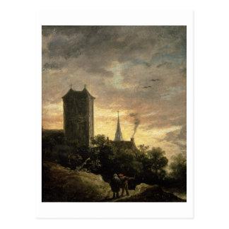 Landschaft mit einem Turm (Öl auf Leinwand) Postkarte