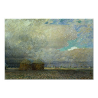 Landschaft mit Huts, 1900 Poster