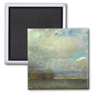 Landschaft mit Huts, 1900 Quadratischer Magnet