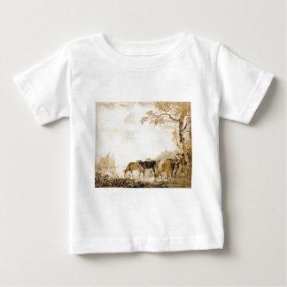 Landschaft mit Kühen durch Jakob van Strij Baby T-shirt