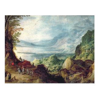 Landschaft mit Meer und Bergen (Öl auf Leinwand) Postkarte
