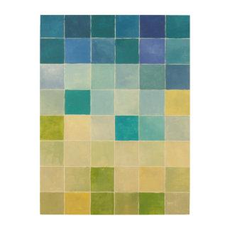 Landschaft mit mehrfarbigen Pixilated Quadraten Holzleinwand