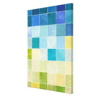 Landschaft mit mehrfarbigen Pixilated Quadraten Leinwanddruck