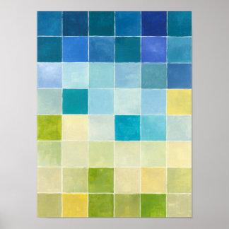 Landschaft mit mehrfarbigen Pixilated Quadraten Poster