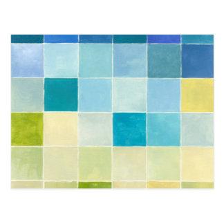 Landschaft mit mehrfarbigen Pixilated Quadraten Postkarte