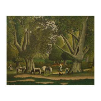 Landschaft mit Milkmaids durch Henri Rousseau Holzwanddeko