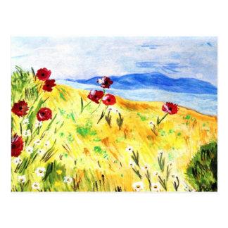 Landschaft mit Mohn Postkarte
