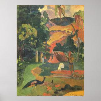 Landschaft mit Pfaus durch Paul Gauguin Poster