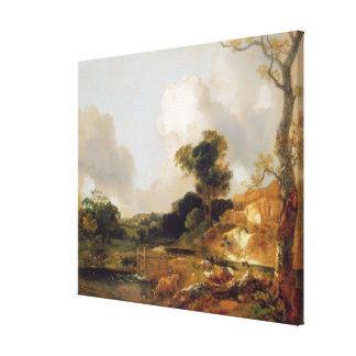 Landschaft mit Strom und Wehr (Öl auf Leinwand) Gespannter Galerie Druck