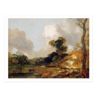 Landschaft mit Strom und Wehr (Öl auf Leinwand) Postkarte