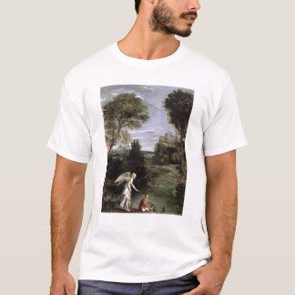 Landschaft mit Tobias, der Griff der Fische legt T-Shirt