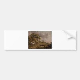 Landschaft mit vier Pferden durch George Morland Autoaufkleber